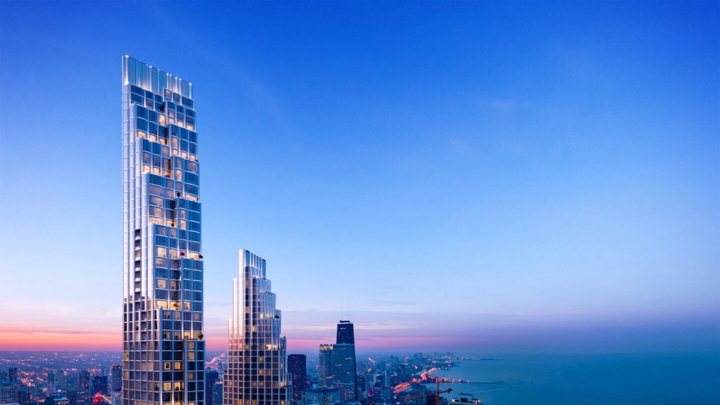 The two sister towers located at 400 Lake Shore Drive proposed by Related Midwest and designed by architect David Childs with Skidmore, Owings & Merrill feature slender, cascading silhouettes designed to create breathtaking city-to-lake and lake-to-city vistas while transforming the downtown skyline. The towers will include luxury condominium residences, apartments and a boutique hotel, and will be connected by a four-story podium housing a mix of hotel and residential amenities.