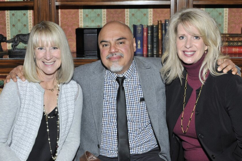 RSF Literary Society President Candace Humber, author  Hector Tobar, Chapter leader Kelly Colvard.
