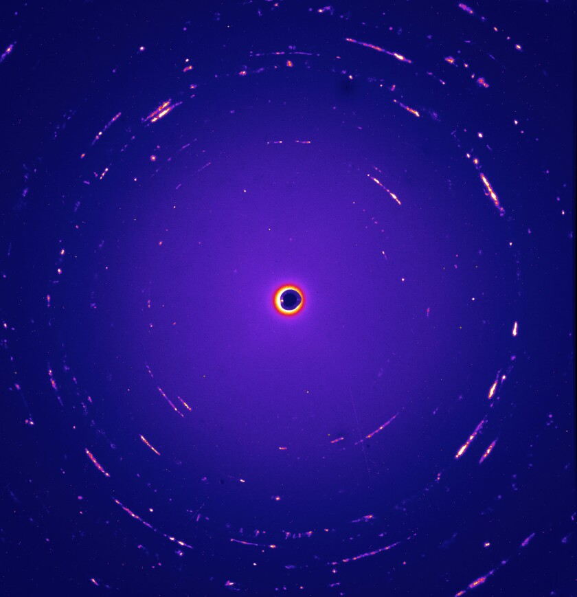 Scientists subjected interstellar dust particles, like the one above, to X-ray diffraction. The particles were lodged in collection panels from NASA's Stardust mission.