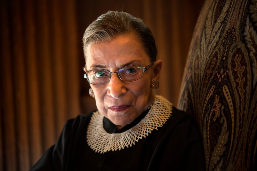 Supreme Court Justice Ruth Bader Ginsburg, shown in 2013, died Friday evening.