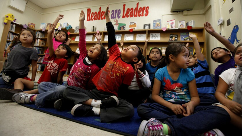 With the start of a new school year, the Los Angeles Times is rededicating itself to coverage of teaching and learning. Above, first-graders at San Pedro Elementary.