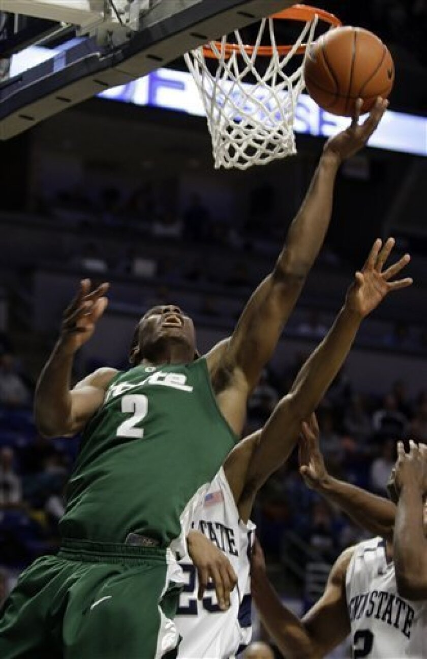 Michigan State forward Raymar Morgan (2) drives to the basket over Penn State defenders Jeff Brooks (25) and Jemelle Cornley (2) during the first half of an NCAA college basketball game in State College, Pa., Wednesday, Jan. 14, 2009. (AP Photo/Carolyn Kaster)