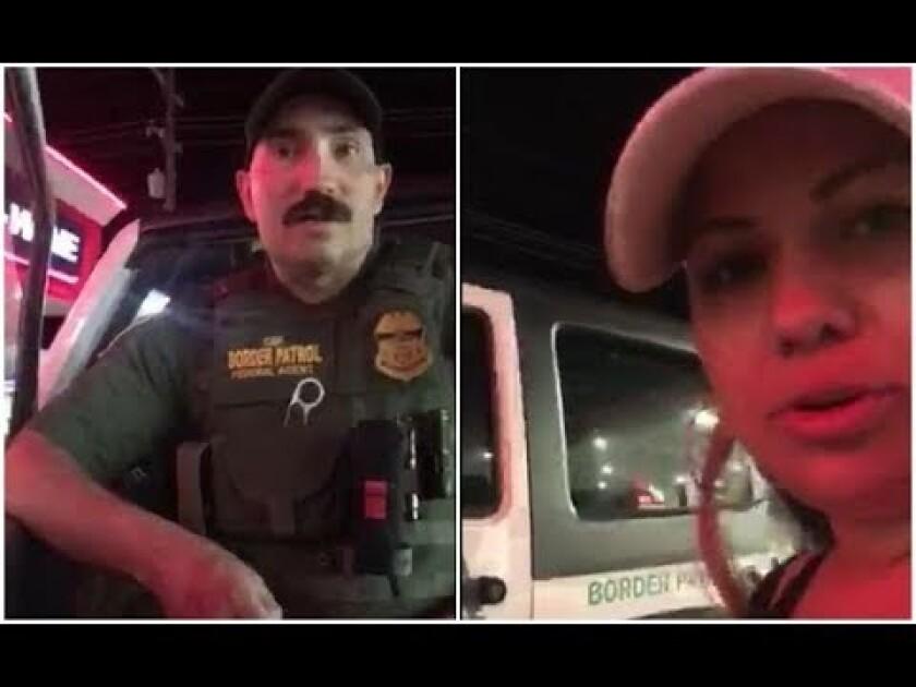 Una de las mujeres detenidas graba el incidencente con el agente que las detuvo.