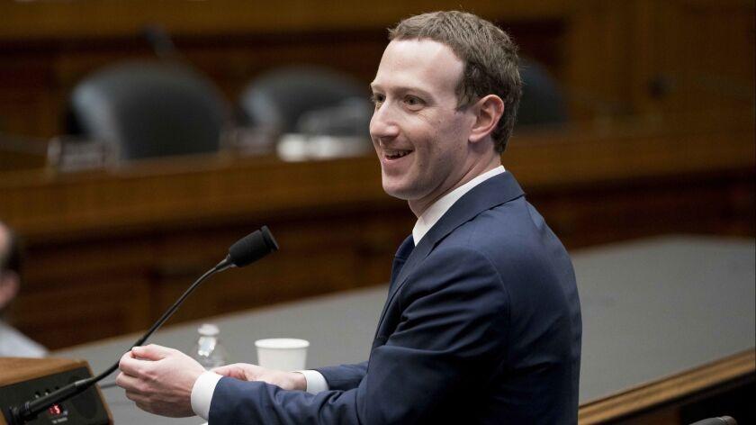 Facebook CEO Mark Zuckerberg testifying on Capitol Hill in Washington on April 11.