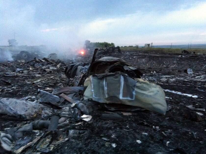 Wreckage of a Malaysian Airlines jet is seen near Shaktarsk, in rebel-held eastern Ukraine.