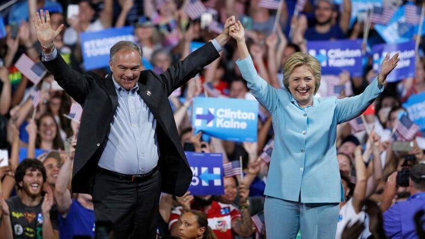 Tim Kaine and Hillary Clinton