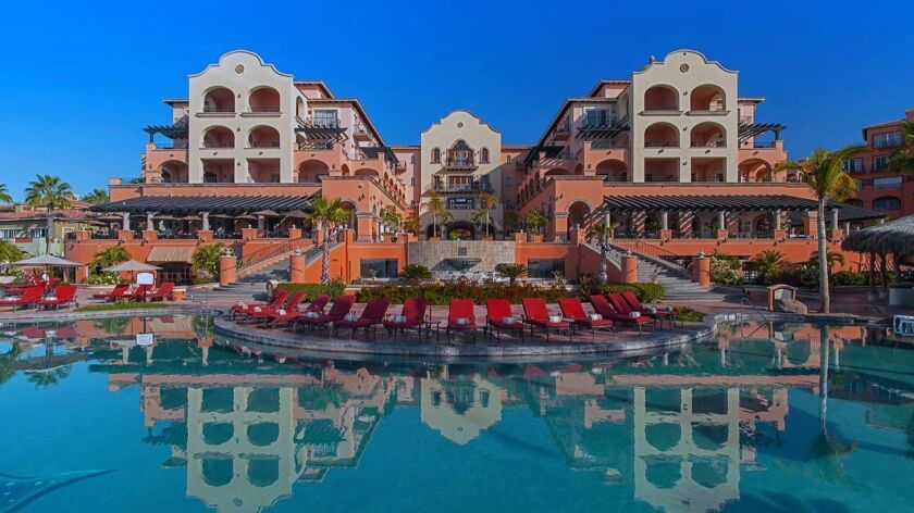 The main building and infinity pool at the Sheraton Grand, Los Cabos, Baja California.