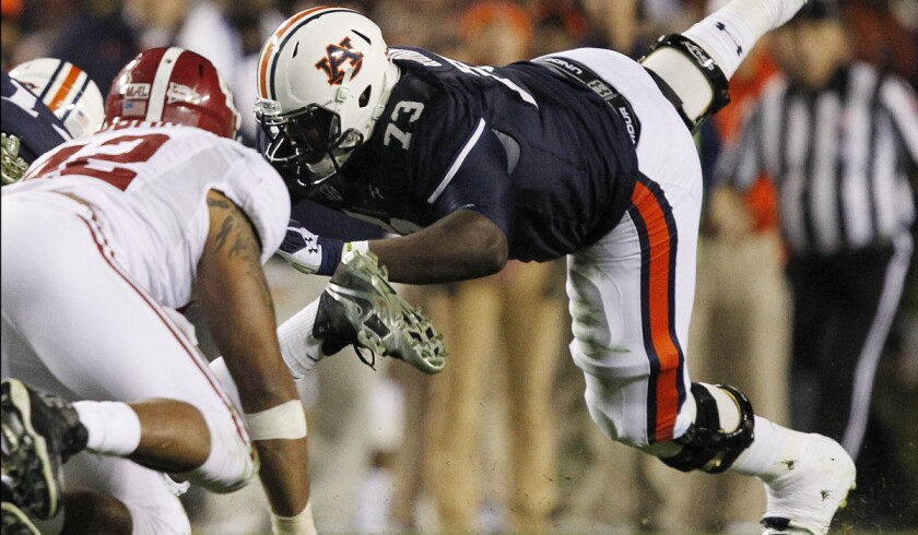 A few teams in the AFC and NFC East divisions could use a tackle like Auburn's Greg Robinson (73).