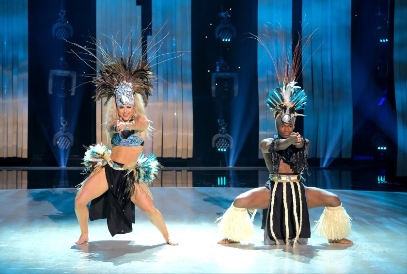 "Top 6 contestants Jensen Arnold (left)) and Jay Jay Dixonbey perform a Tahitian routine to ""Lugahiva"" choreographed by Tiana Liufau on So You Think You Can Dance."