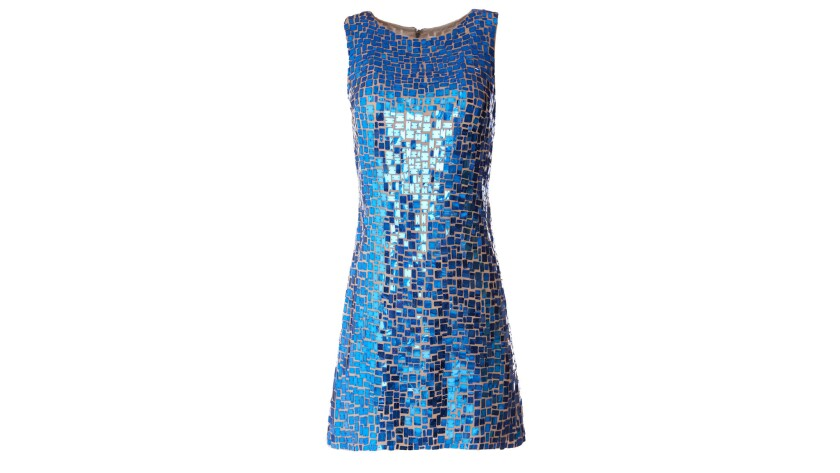 alice + olivia's Clyde sleeveless A-line nude cocktail dress is covered in blue rectangular sequin