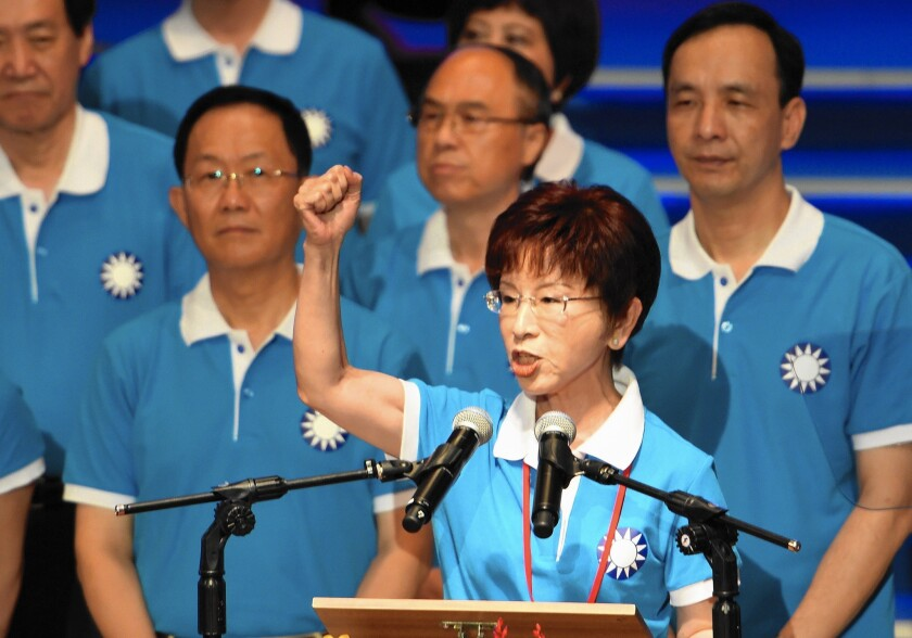 Nationalist Party candidate Hung Hsiu-chu, seen in July, has little support from voters in Taiwan, some of whom say they find her off-putting and unpresidential.