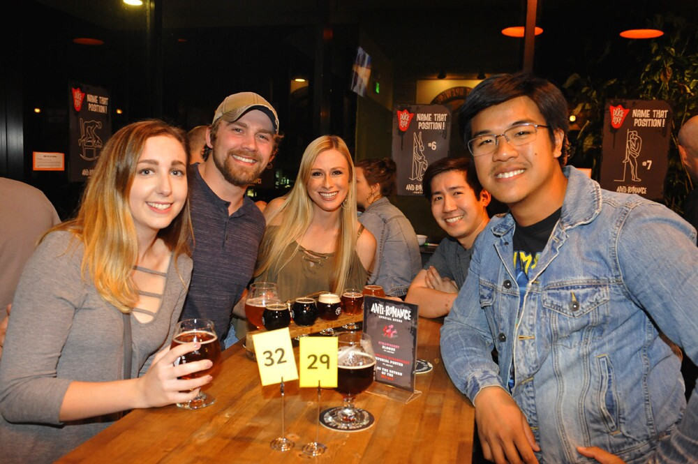 Party guests threw back a brew or two to celebrate the third annual Anti-Romance Party at Duck Foot Brewing Company on Friday, Feb. 9, 2018.