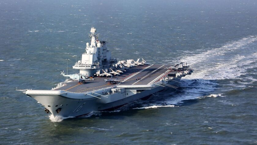 This file photo taken on Dec. 24, 2016, shows the Liaoning, China's only aircraft carrier, sailing during military drills in the Pacific.