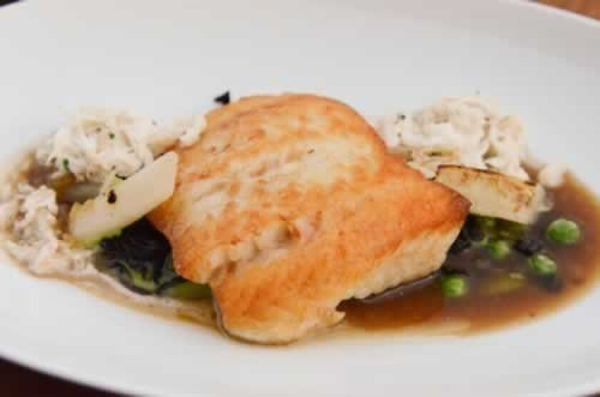 Pan Roasted Ling Cod is combined with black trumpet mushrooms, salsify, English peas, and warm Dungeness crab salad, in roasted chicken jus. Photos by Kelley Carlson