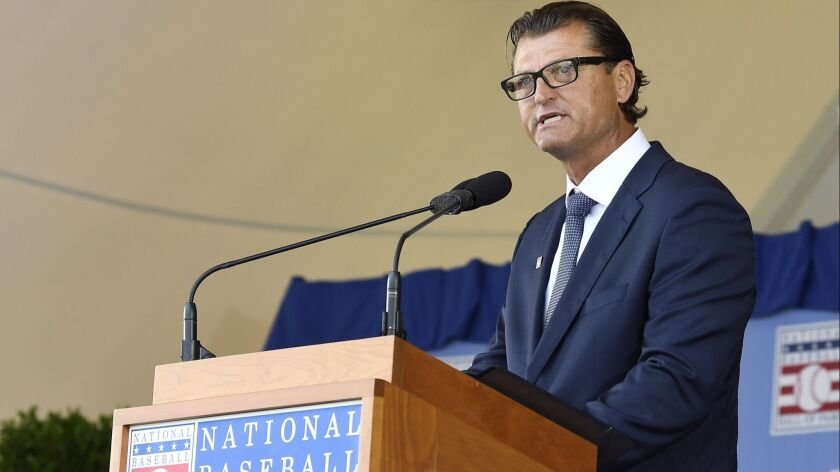 National Baseball Hall of Fame inductee Trevor Hoffman speaks during an induction ceremony at the Cl
