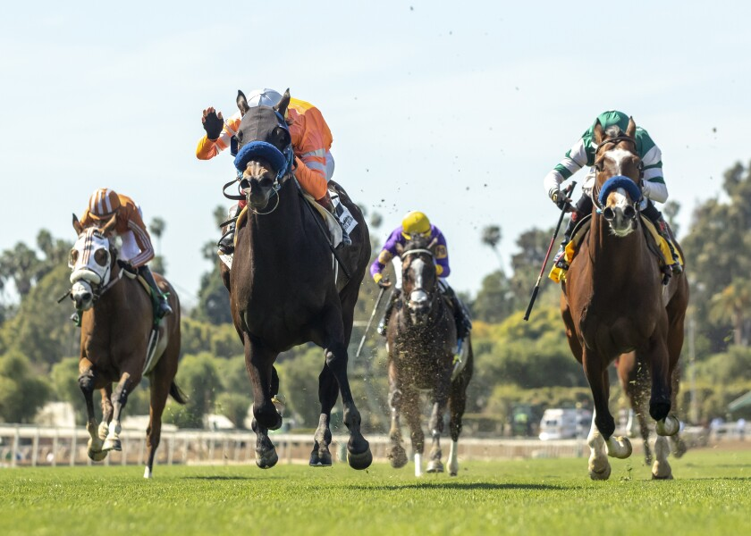 In this file photo from March 2019, Cistron (far right) is beaten by Law Abidin Citizen in the Grade III San Simeon Stakes at Santa Anita.