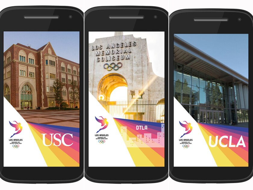 Snapchat users will be able to apply a filter featuring the LA 2024 Olympic bid logo to their snaps at select locations around the city.
