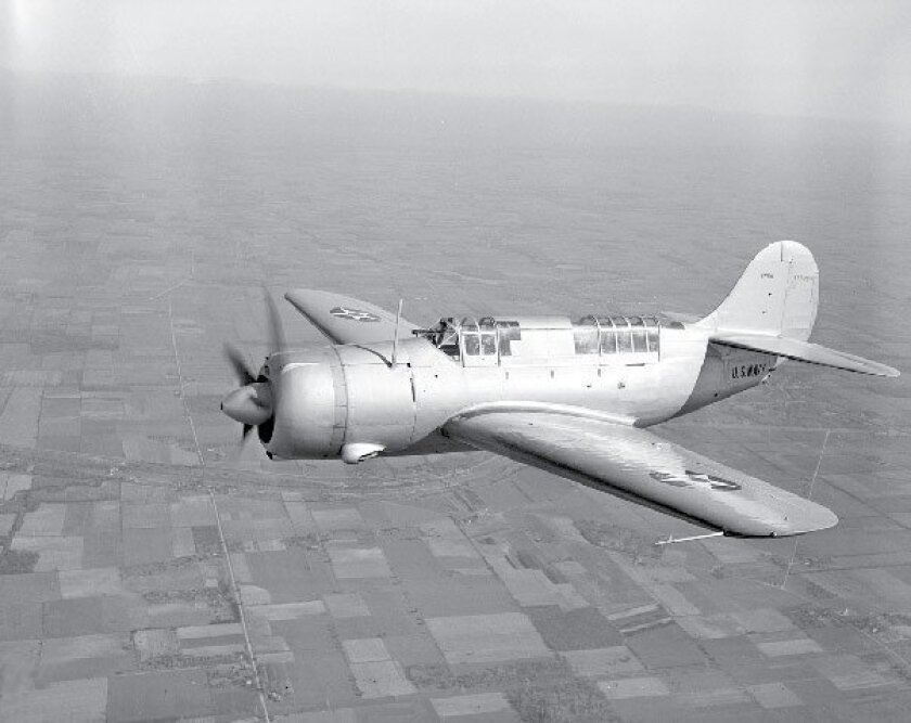 The United States built about 30,000 planes in the overall Helldiver family,  such as this SB2C-1 Helldiver on a flight in 1941. (Associated Press file)