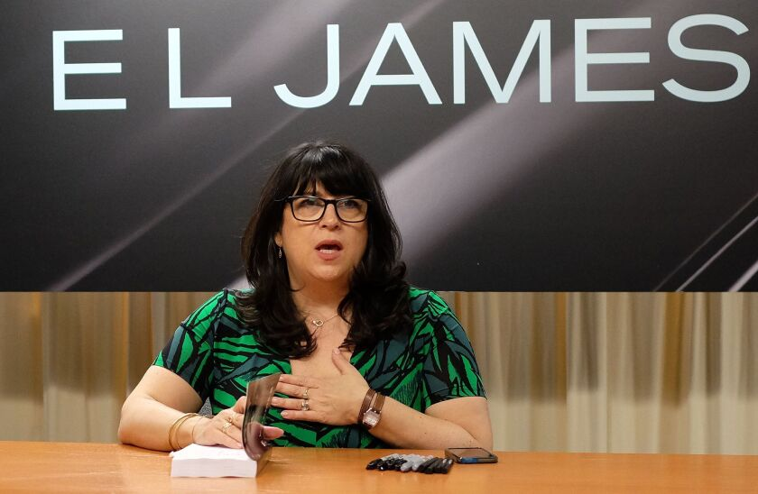 "E.L. James' signs copies of ""Grey: Fifty Shades of Grey as Told by Christian"" in New York on June 18."