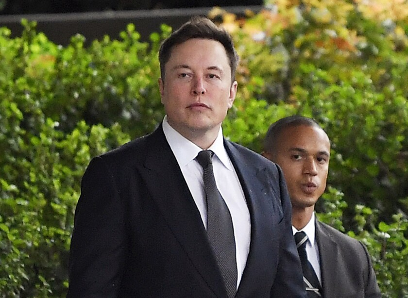 """Tesla CEO Elon Musk arrives at U.S. District Court in Los Angeles. A Los Angeles jury ruled Musk did not defame a British cave explorer when he called him """"pedo guy"""" in a tweet."""