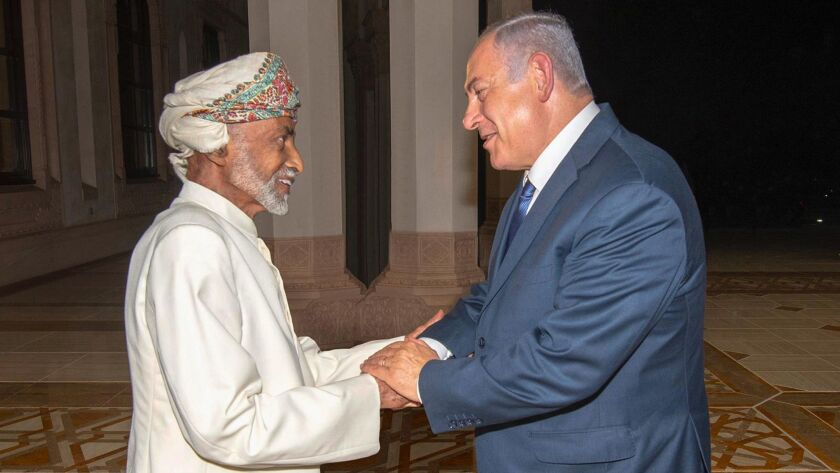 Oman's Sultan Qaboos bin Said greets Netanyahu in Muscat, Oman, on Oct. 26, 2018.
