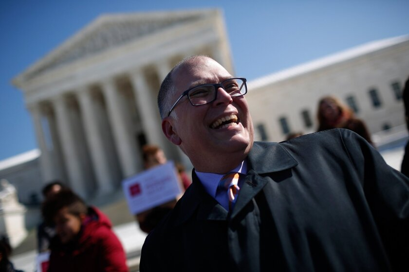 Jim Obergefell, plaintiff in the case Obergefell vs. Hodges, speaks in front of the U.S. Supreme Court on March 6, 2015.
