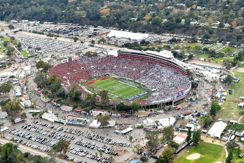 An aerial view of the Rose Bowl in Pasadena during the 2017 game between USC and Penn State.