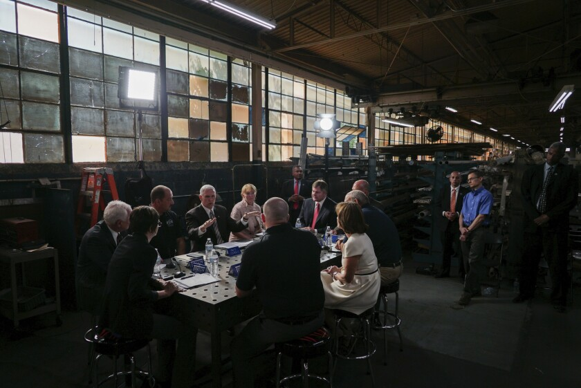 Vice President Mike Pence meets with local business leaders in Bedford, Ohio.