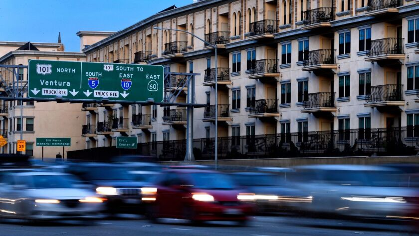 LOS ANGELES, CA-FEBRUARY 1, 2017: Motorists make their way along the 110 freeway in downtown Los An