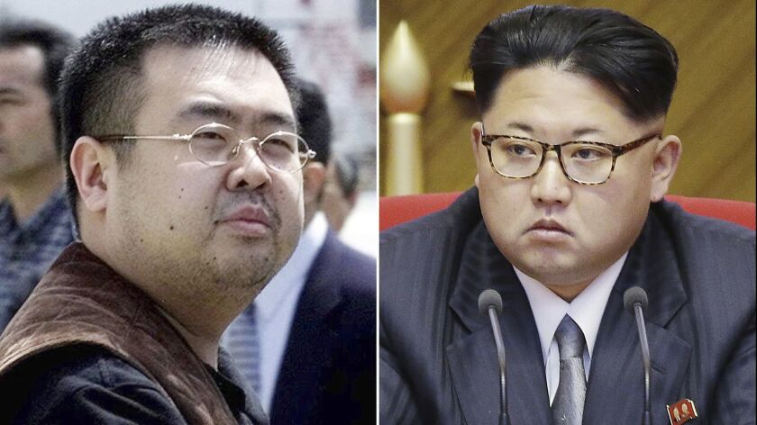 FILE - This combination of file photos shows Kim Jong Nam, left, exiled half-brother of North Korea'