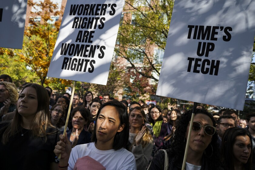 Hundreds of Google employees joined a planned walkout from their New York office and gathered in a nearby park to protest the company's handling of sexual misconduct allegations.