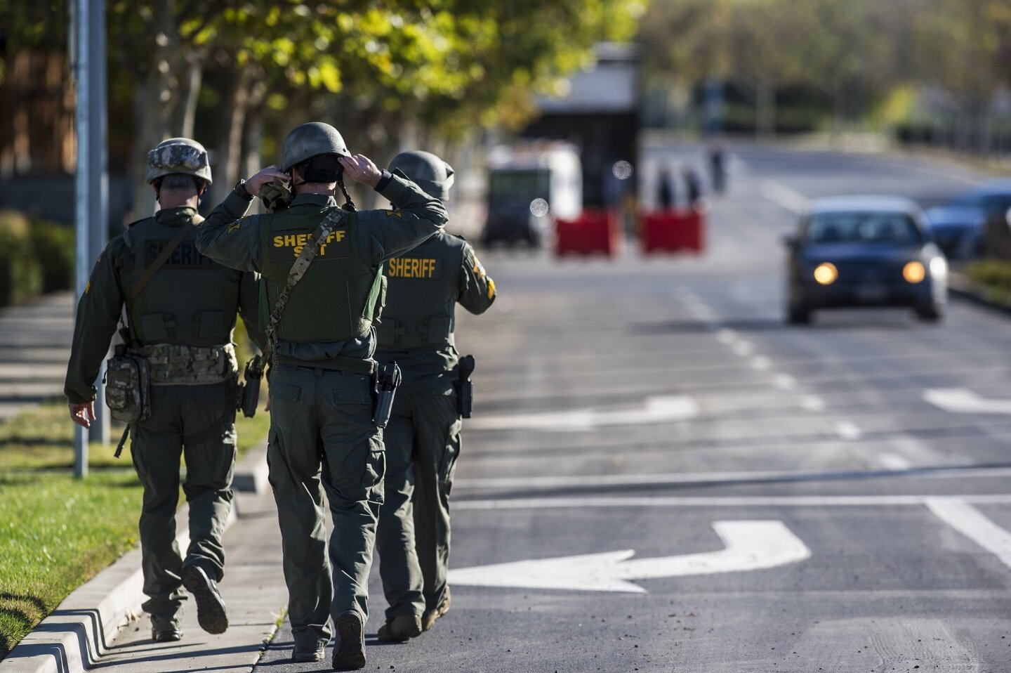 A SWAT team from the Merced County Sheriff's Department enter the UC Merced campus after reports of stabbings. An assailant stabbed four people on central California campus before being fatally shot by police.