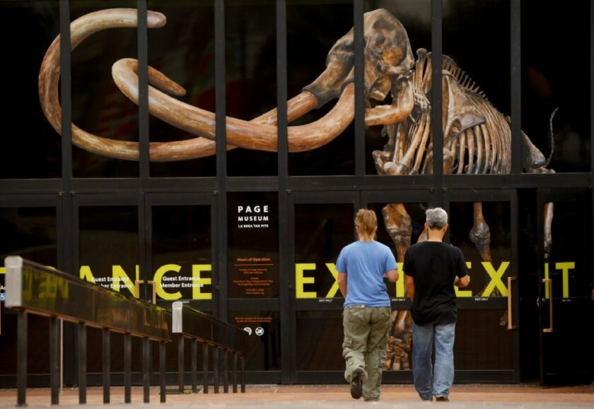 Visitors at the Page Museum at the La Brea Tar Pits.