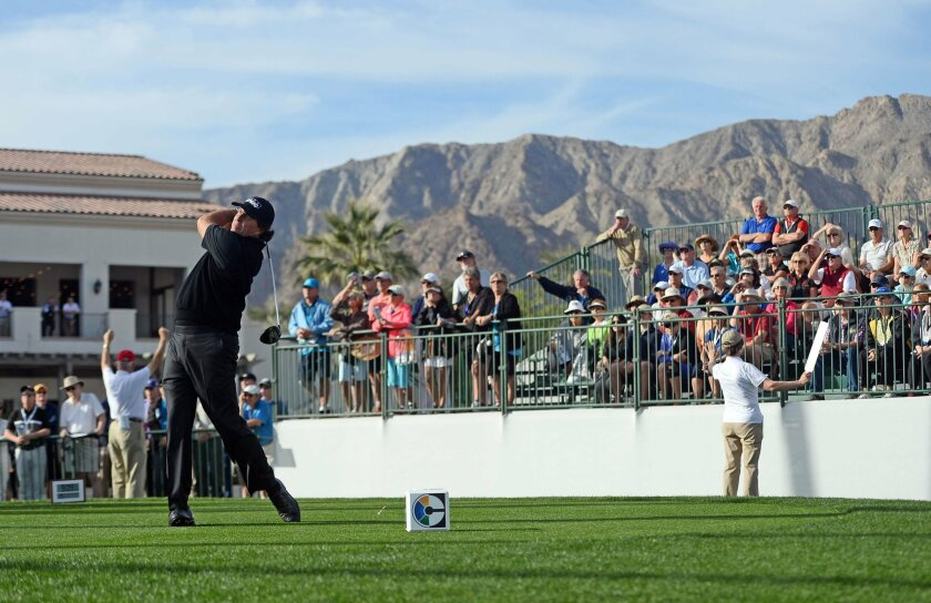 Jan 21, 2016; La Quinta, CA, USA; Phil Mickelson tees off on the 1st hole during the first round of the CareerBuilder Challenge at La Quinta Country Club. Mandatory Credit: Joe Camporeale-USA TODAY Sports ** Usable by SD ONLY **