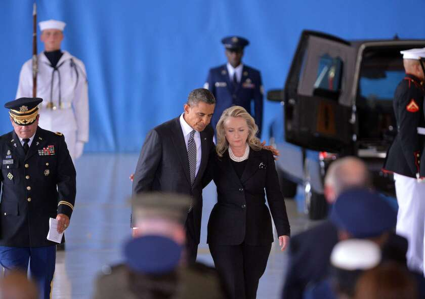 President Obama with then-Secretary of State Hillary Clinton in 2012. Economist Ray C. Fair's 2016 presidential election forecast does not favor the Democrats.