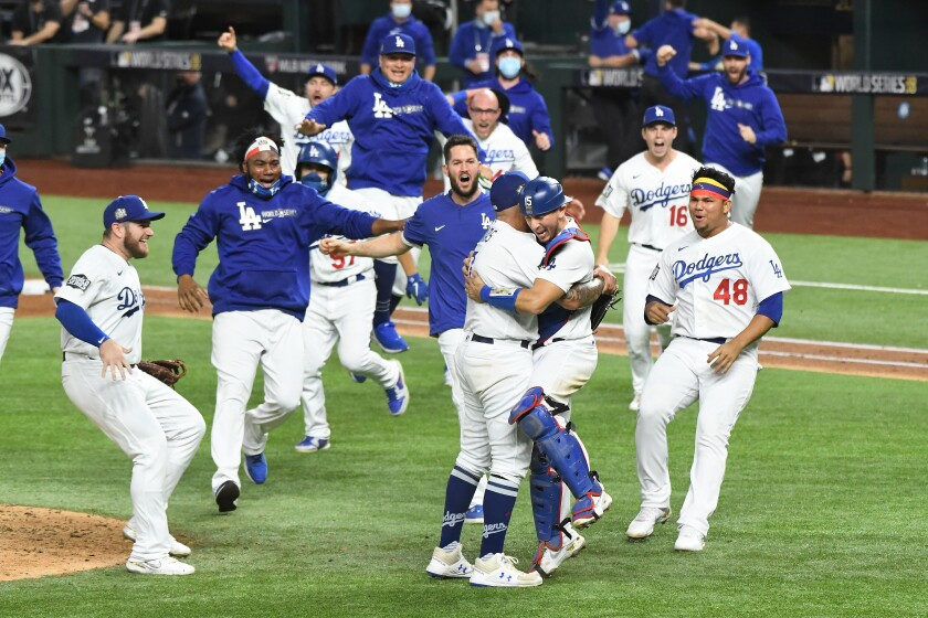ARLINGTON, TEXAS OCTOBER 27, 2020-Dodgers players celebrate the World Campionship against the Rays.