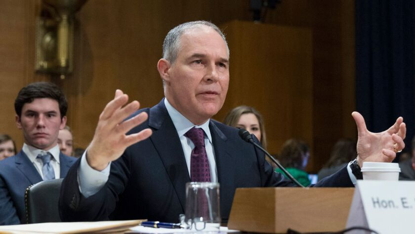 Oklahoma Atty. Gen. Scott Pruitt, President-elect Donald Trump's choice to run the Environmental Protection Agency, testifies Wednesday at his Senate confirmation hearing.