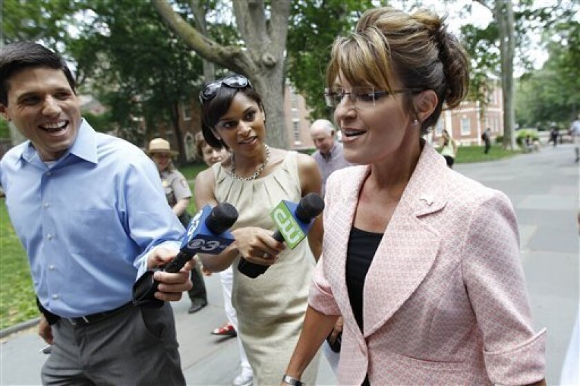 Sarah Palin, former GOP vice presidential candidate and Alaska governor, is seen as she makes her way to Independence Hall during her visit to Independence National Historical Park Tuesday, May 31, 2011, in Philadelphia. (AP Photo/Matt Rourke)