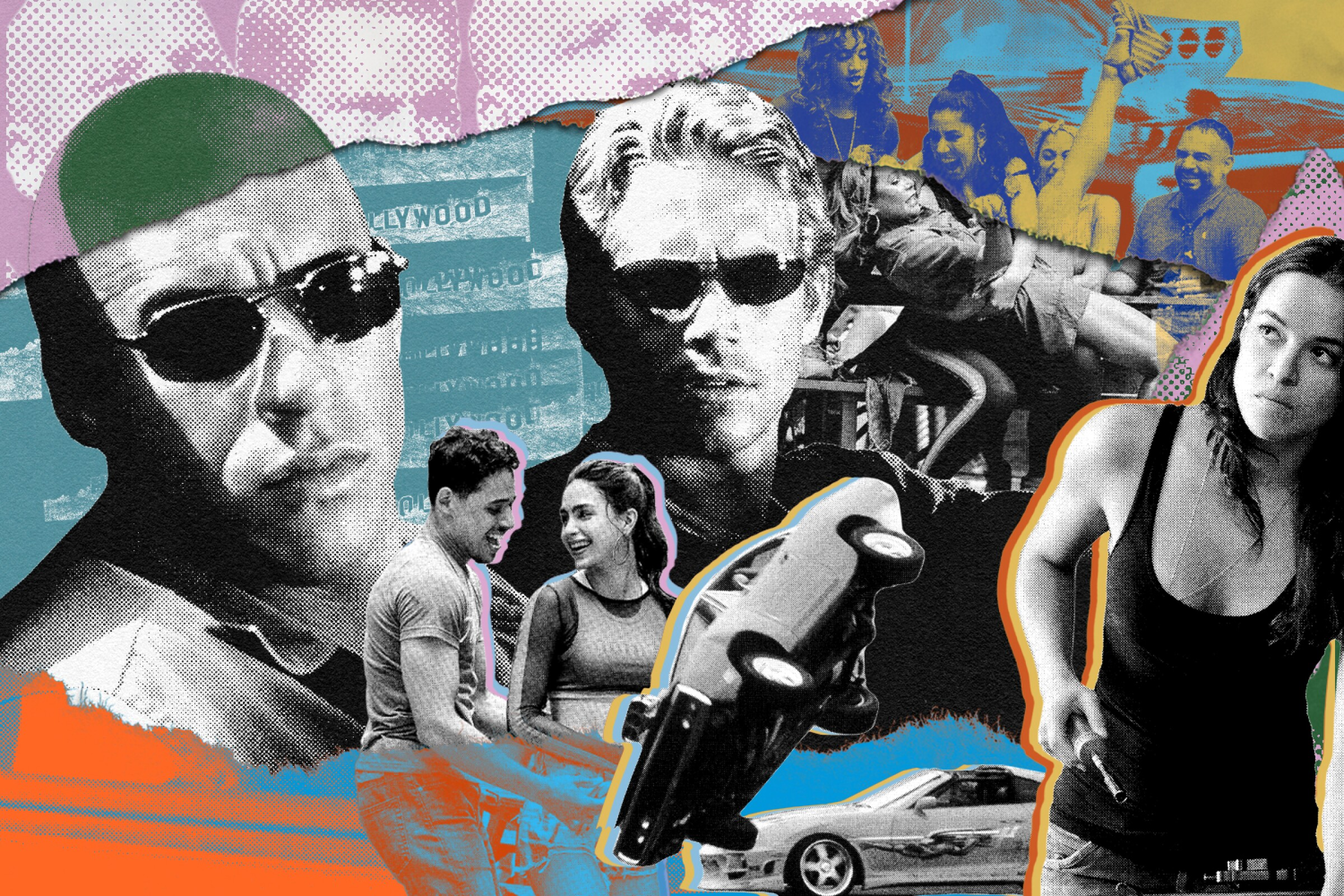 """Illustration for how the """"Fast & Furious"""" movies became the stand-in for Latino action films."""