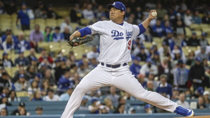 LOS ANGELES, CA, TUESDAY, MAY 7, 2019 -- Dodgers starting pitcher Hyun-Jin Ryu pitches against the