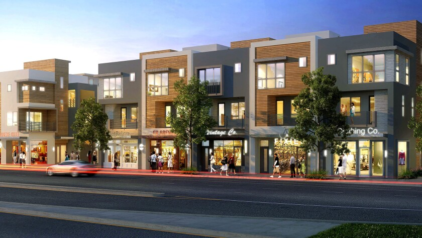 A rendering of the mixed-used complex on Eagle Rock Boulevard that will have 45 homes.