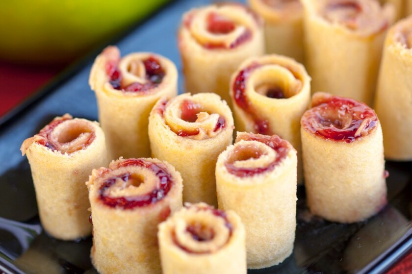 """Grab a glass of milk and dive into PB&J """"sushi"""" rolls."""