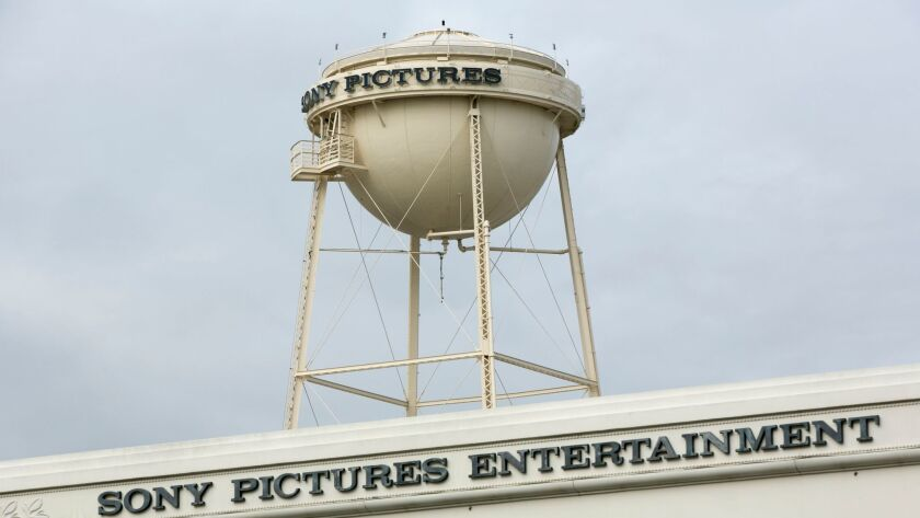 FILE - This Dec. 18, 2014, file photi, shows a Sony Pictures Entertainment studio lot entrance from