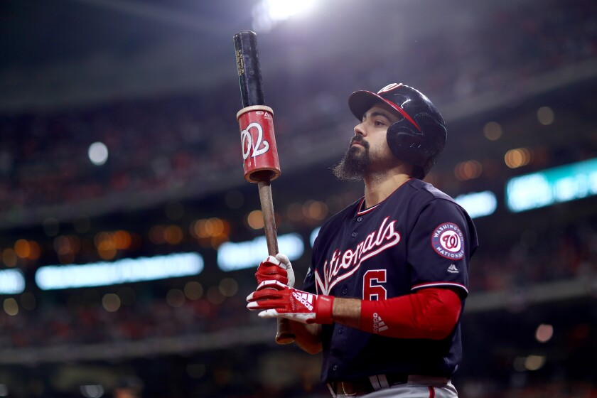 Nationals third baseman Anthony Rendon waits to bat during the fourth inning of Game 7 of the World Series against the Astros on Oct. 30.