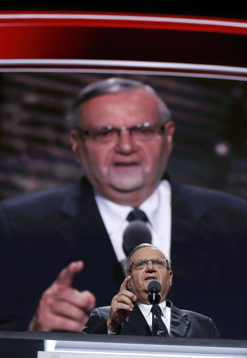 Sheriff Joe Arpaio of Arizona speaks during the final day of the Republican National Convention in Cleveland, Thursday, July 21, 2016. (AP Photo/Carolyn Kaster)