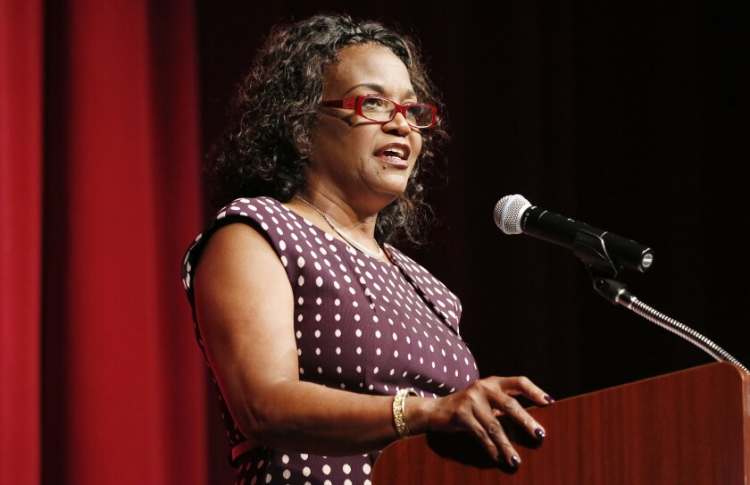 "L.A. Unified Supt. Michelle King delivers her first ""state of the district"" address on Aug. 9. She touted the district's 75% graduation rate."