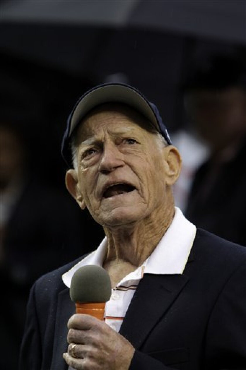 FILE - This Sept. 28, 2009, file photo shows Sparky Anderson, manager of the 1984 Detroit Tigers world championship team, speaking during a celebration of their 25th anniversary prior to the Detroit Tigers-Minnesota Twins Major League Baseball game in Detroit. Anderson has been placed in hospice care at his Thousands Oaks, Calif. home for complications resulting from dementia. Anderson family's said in a statement Wednesday, Nov. 3, 2010, they appreciate the support and kindness that friends and fans have shown throughout the Hall of Famer's career and retirement. (AP Photo/Paul Sancya, File)
