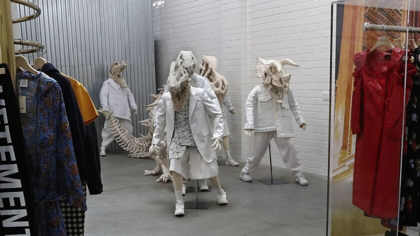 LOS ANGELES, CA-NOVEMBER 2, 2018: An art installation space, background, curated by Rei Kawakubo,