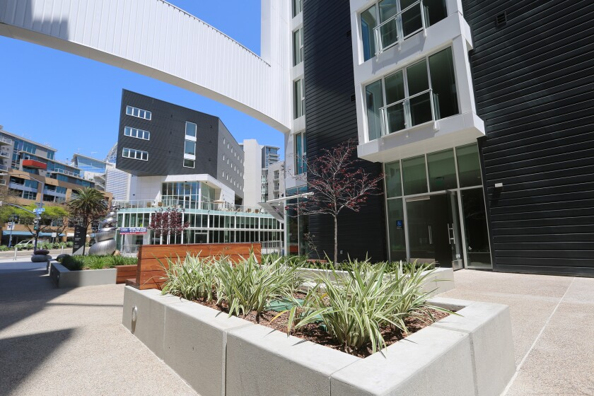 One of the interior courtyards at the Park/12 apartment complex across the street from the entrance to Petco Park.