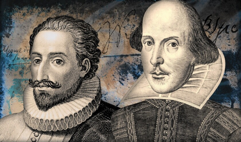 Miguel de Cervantes, left, and William Shakespeare set the course of literary history - and died the same day.
